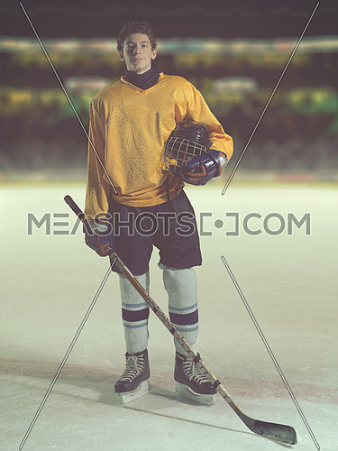 young ice hockey player portrait on a match half time
