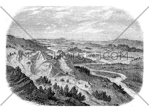 The Valley of the Alpheus River, Elis, Greece, vintage engraved illustration. Magasin Pittoresque 1861.