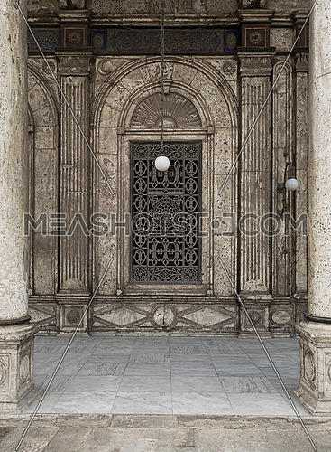 One of the windows of The Great Mosque of Muhammad Ali Pasha (Alabaster Mosque), situated in the Citadel of Cairo in Egypt, commissioned by Muhammad Ali Pasha between 1830 and 1848. Considered as one of the landmarks and tourist attractions of Cairo
