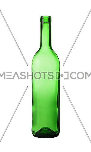 Close up one unlabeled empty green glass wine bottle isolated on white background, low angle side view
