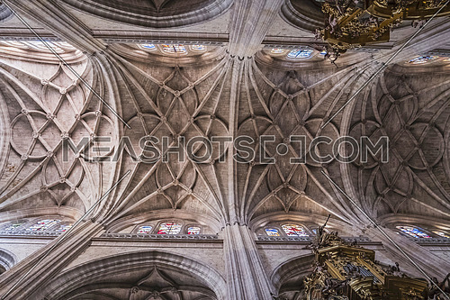 SEGOVIA, SPAIN, JUNE - 3, 2017: The crossing of naves of Cathedral Nuestra Senora de la Asuncion y de San Frutos de Segovia, take in Segovia, Spain