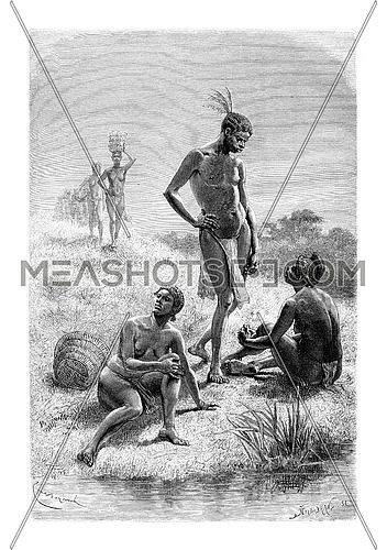 Man and Woman from Quimbandes in Angola, Southern Africa, drawing by Bayard based on the English edition, vintage illustration. Le Tour du Monde, Travel Journal, 1881