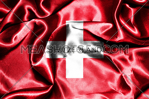 Switzerland National Flag With Country Name On It