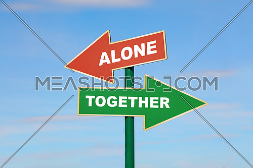 Road signpost with two arrows, green and red, with alone and together words, directing to different directions, left and right, over clear blue sky, low angle side view