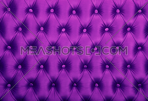 Purple violet capitone textile background, retro Chesterfield style checkered soft tufted fabric furniture diamond pattern decoration with buttons, close up