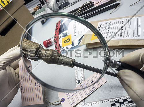 Expert police examines with magnifying glass a screwdriver in laboratory forensic equipment, conceptual image