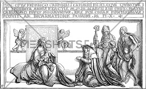Bronze relief bottom of the tomb of Cardinal Friedrich Jagiello in the cathedral of Krakow, vintage engraved illustration. Magasin Pittoresque 1869.