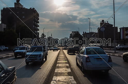 Track Left Shot for traffic at Salah Salim Street showing Al Orouba Tunnel in background at Daytime