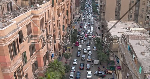 Fly over shot drone for Traffic Jam  in Cairo Downtown at day