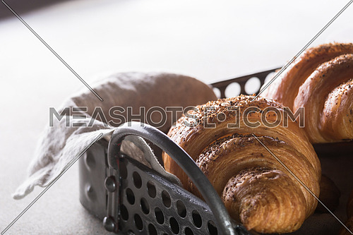 Freshly Baked croissant in a tray