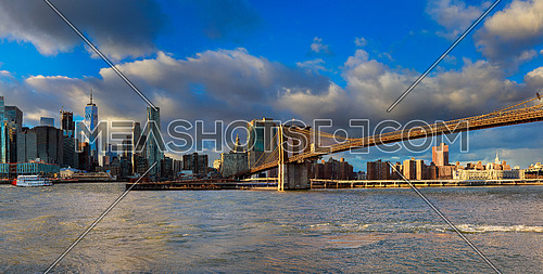 The Brooklyn Bridge and Manhattan Skyline from Brooklyn, New York.