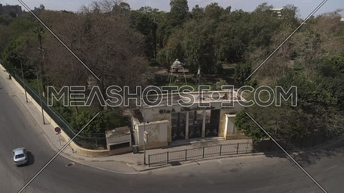 Aerial shot flying over Giza Zoo Entrance during the corona pandemic lockdown by day 10 April 2020