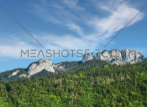 Mont Blanc rocky range peaks over green woodland mountains, sunny day, beautiful low angle view from French side