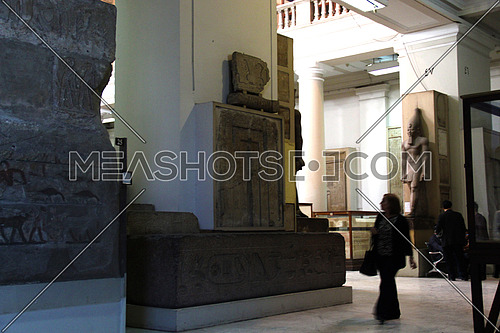Egyptian museum in Cairo showing a display of monuments &  tourists