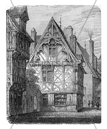 Wooden houses of Normandy, vintage engraved illustration. Industrial encyclopedia E.-O. Lami - 1875.