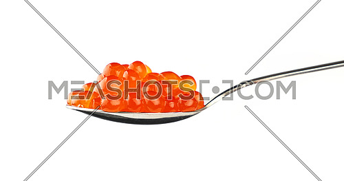 Close up metal spoon full of red salmon fish caviar isolated on white background, low angle side view