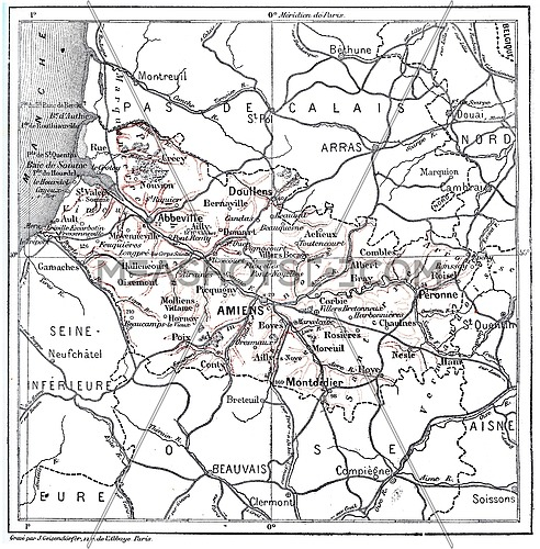 Old engraved illustration of map of Department of Somme. Dictionary of words and things - Larive and Fleury ? 1895