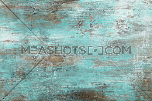 Grunge blue and white painted brushed and weathered uneven antique wooden surface background