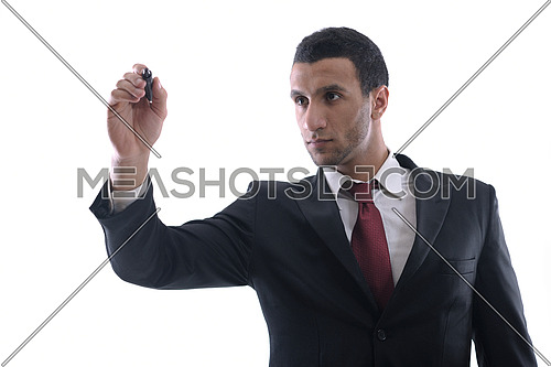 business man draw with marker on empty copy space isolated on white in studio