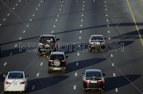 cars driving in lanes on shekh zayed road dubai uae