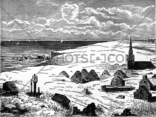 Village buried under the dunes, vintage engraved illustration. Earth before man – 1886.
