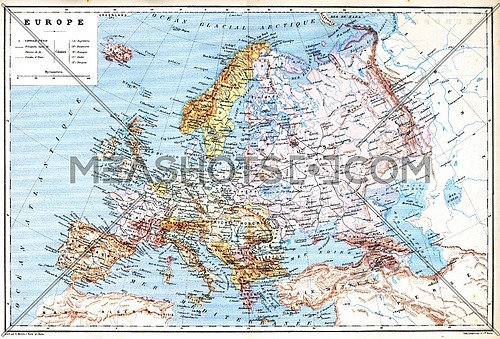 The old planispheric map of Europe with explanation of signs on map.