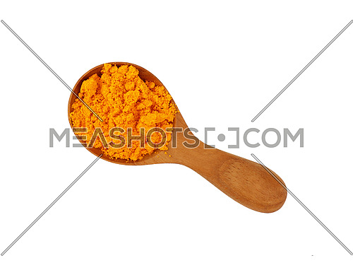 Close up one wooden scoop spoon full of yellow turmeric powder spice isolated on white background, elevated top view, directly above