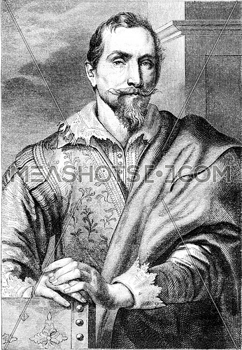 Portrait of Francois Snyders, after the etching of Van Dyck, vintage engraved illustration. Magasin Pittoresque 1852.