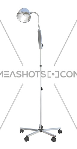 Adjustable metal mobile medical stand lamp, 3d illustration, isolated against a white background