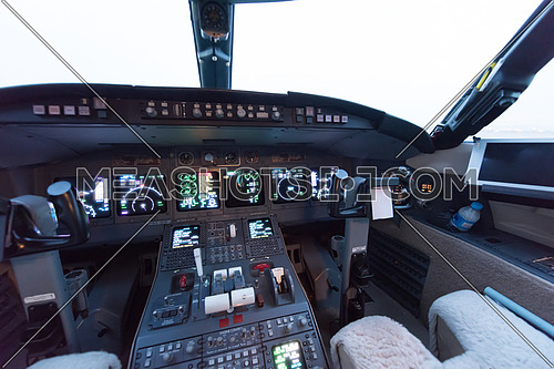 cockpit of a modern private aircraft in the Middle East