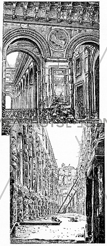 Interior views of the ruins, vintage engraved illustration. Paris - Auguste VITU – 1890.