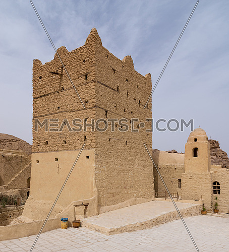 Cairo, Egypt - March 24 2018: Small fort and tower at the Monastery of Saint Paul the Anchorite (aka Monastery of the Tigers), dates to the fifth century AD and located in the Eastern Desert, near the Red Sea mountains, Egypt