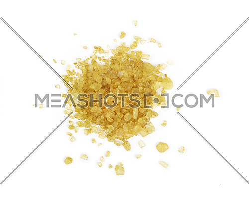 Close up one portion, heap of crystals green Hawaiian salt isolated on white background, elevated top view, directly above