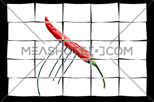 red chili pepper on a fork ,on white background
