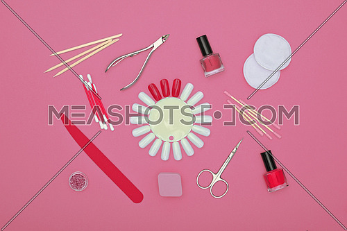 Close up feminine hygiene, beauty, nail care and manicure set on pink background, elevated top view, directly above