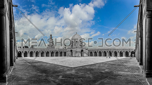 Panorama shot for Ahmed Ibn Tulun Mosque in Al-Khalifa at day in cairo.