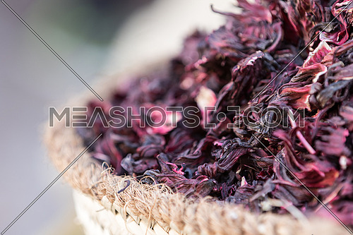 Dried hibiscus flower in the market