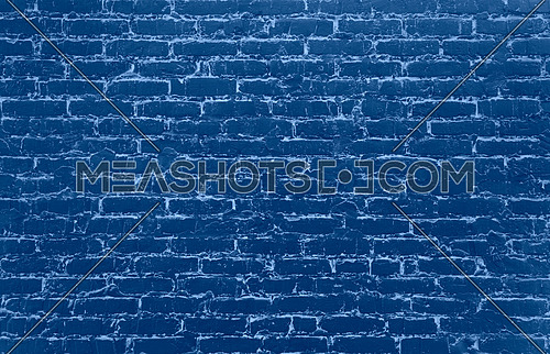 Old dark blue painted grunge vintage retro style classic design brick wall background texture close up