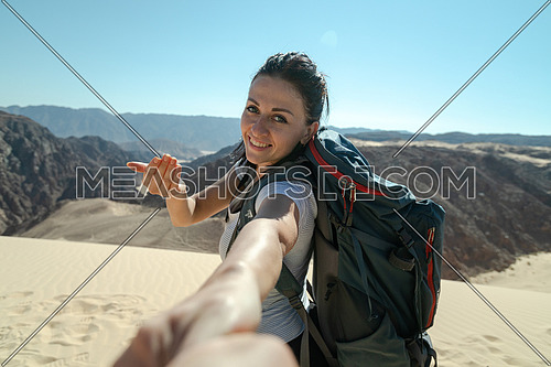 Follow me shot with female tourist from Ain Hodouda in sinai by day