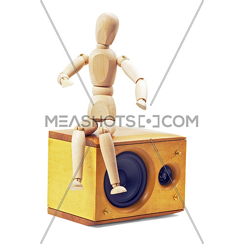 wood mannequin sitting on a speaker isolated on white background