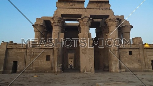 Track in The Temple of Kom Ombo Main Entrance At Aswan, Egypt by day