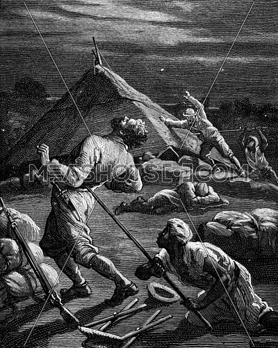 Geographic dramas. Pierre Arnoux and the Kingdom of Shoa, A native struck a spear, vintage engraved illustration. Journal des Voyage, Travel Journal, (1880-81).