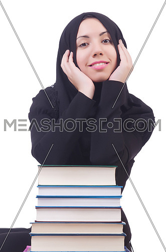 Young muslim female student with books
