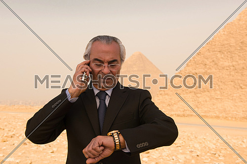 mature arab business man speeking over smartphone  with egyptian pyramids in background