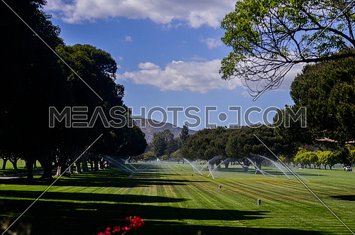 a large park full of trees and grass with water springs turned on