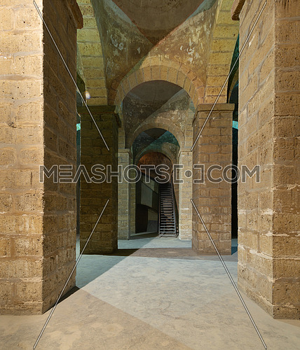 Passages of ancient water cistern with huge arches, lies under the Selehdar complex at  the historical district of Al Moez street, Cairo, Egypt