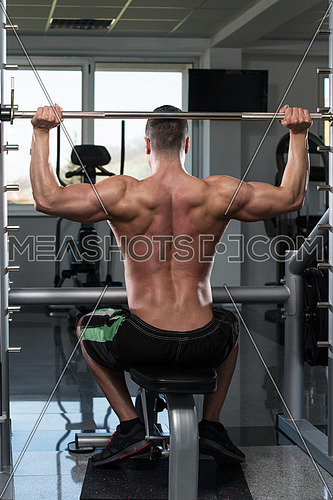 Muscular Young Man Doing Heavy Weight Exercise For Shoulders In Gym
