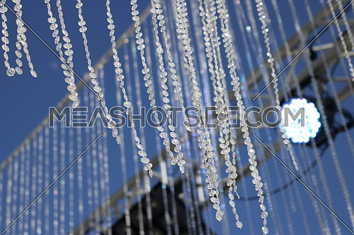 crystal decoration hanging from metal frame