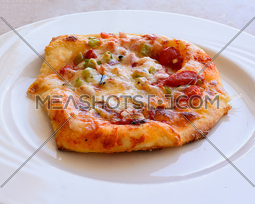 In the picture a small pizza with tomatoes, cheese, peppers, onions and spices, served on white plate.