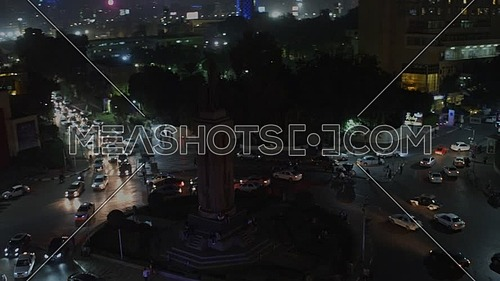 Ariel Shot fly around Saad Zaghloul Statue at night. - Novermber 2018